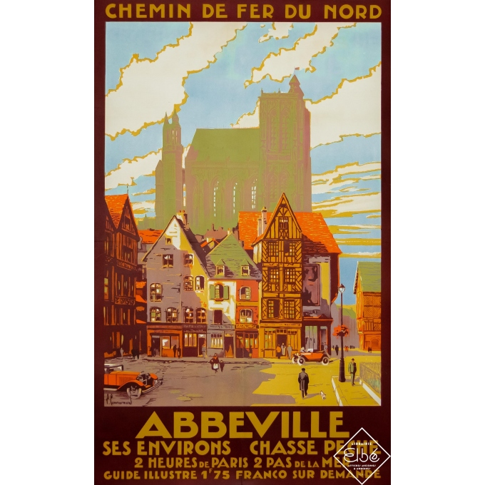 Vintage travel poster - Pierre Commarmond - Circa 1930 - Abbeville - Chemin du Nord - 39,4 by 24,6 inches