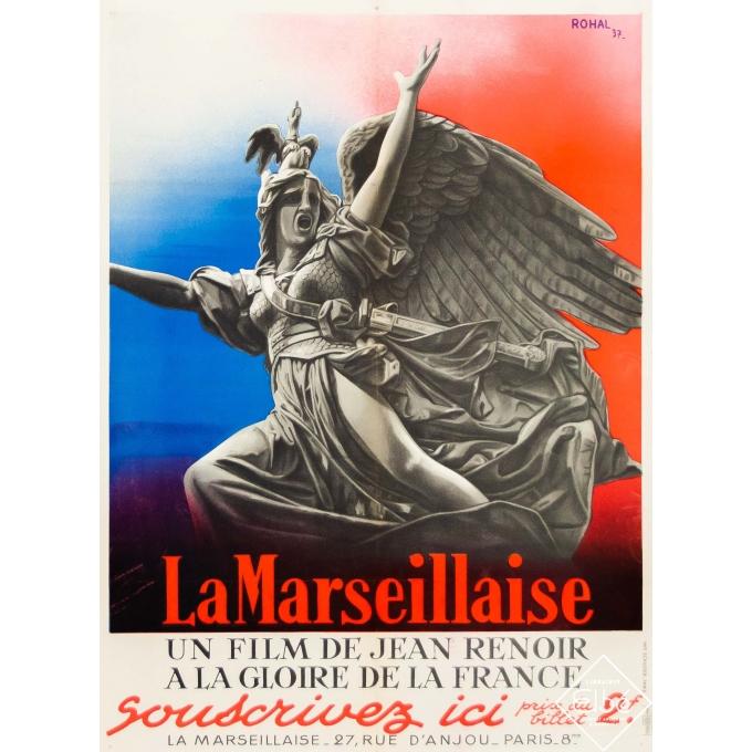 Original vintage movie poster - Rohal - 1937 - La Marseillaise - Jean Renoir - A la gloire de la France - 31,5 by 23,6 inches