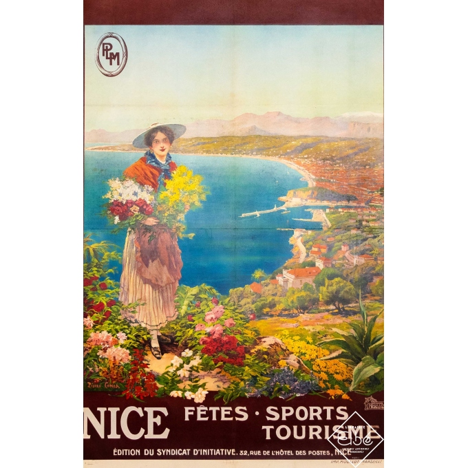Vintage travel poster - Pierre Comba - Circa 1910 - Nice - PLM - 41,1 by 26,6 inches