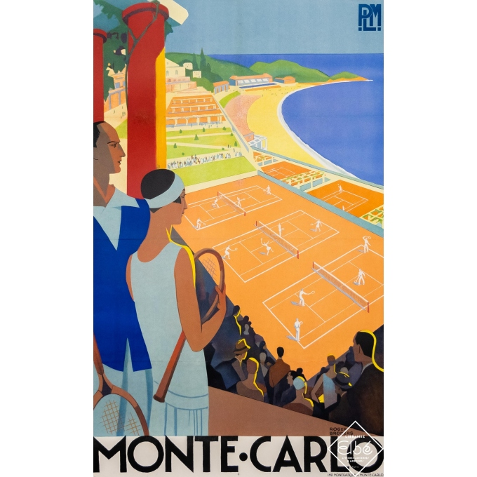 Vintage travel poster - Roger Broders - Circa 1930 - Monte - Carlo -PLM - 39,4 by 24,8 inches