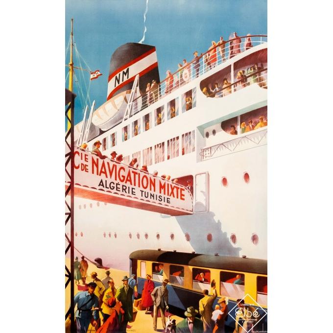 Vintage travel poster - Maurice Dard - Circa 1950 - Compagnie de Navigation Mixte - Algérie Tunisie - 39 by 24,4 inches