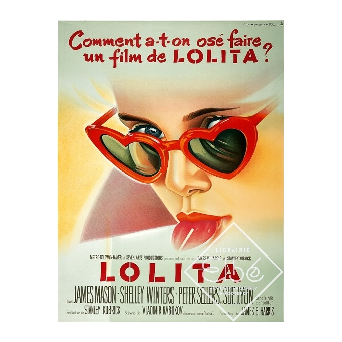 Affiche ancienne originale du film Lolita, Stanley Kubrick, 1962, A+, 120/160 cm