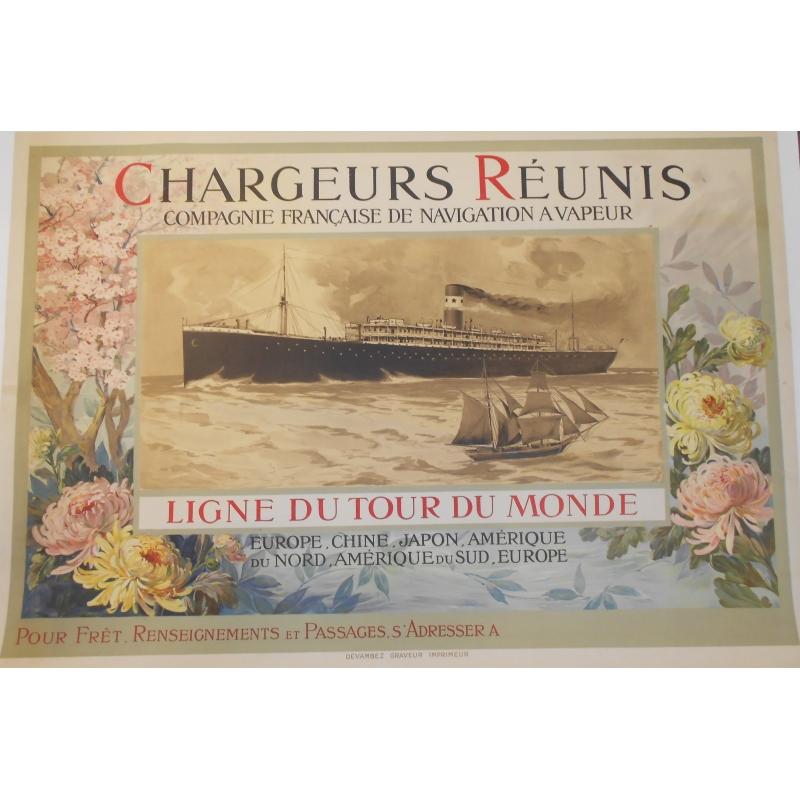 Chargeurs réunis - Ligne du Tour du Monde - Affiche originale