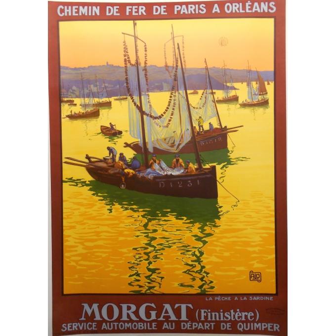 Morgat (Finistère) - Affiche originale de tourisme signée Alo