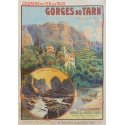 Gorges du Tarn - Château de la Gaze - Original French poster of regionalism