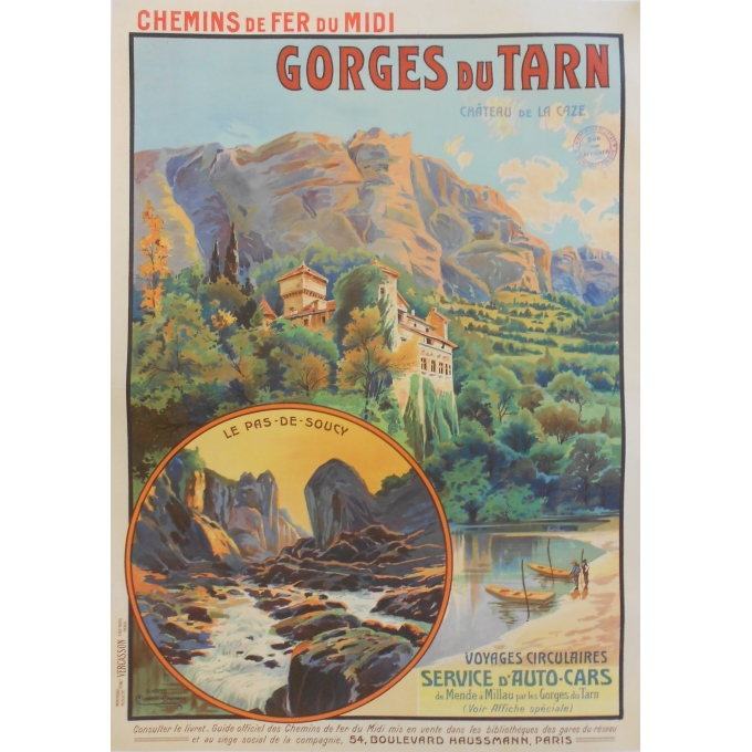 Gorges du Tarn - Château de la Gaze - Original French poster of regionalism
