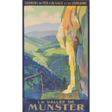 La vallée de Munster - Eastern French railways - Original French poster of regionalism signed by Henry de Renaucourt