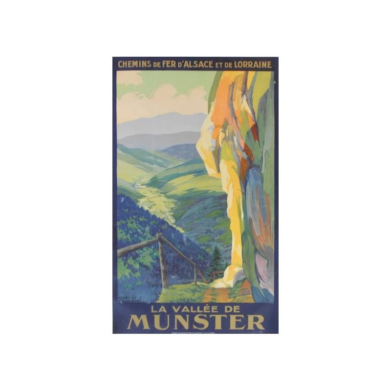 La vallée de Munster - Chemins de fer d'Alsace et de Lorraine - La Vallée de Munster - Original French poster of regionalism si