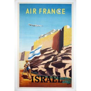 Affiche ancienne Air France Israël 1949