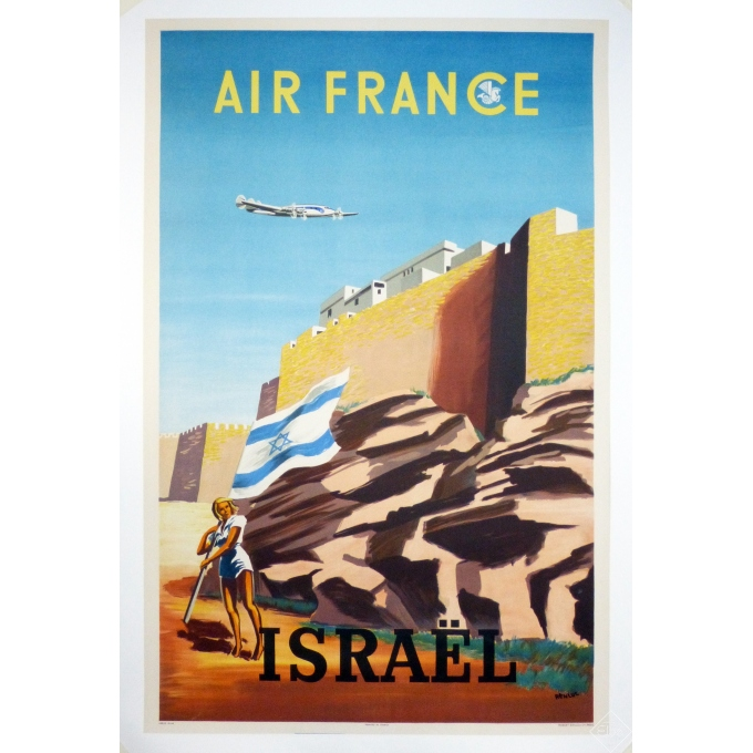 Original vintage poster Air France - ISRAEL - 24.4 X 39.3 inch.