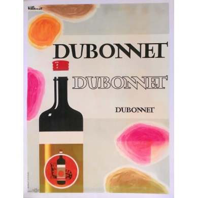 "French original poster by Villemot for vermouth with quinquina ""Dubonnet"" - Circa 1960"