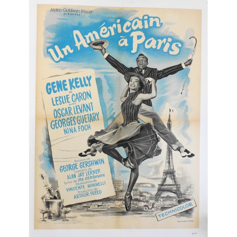 Un Américain à Paris - Affiche originale française de la comédie musicale réalisée par Vincente Minnelli - 1951
