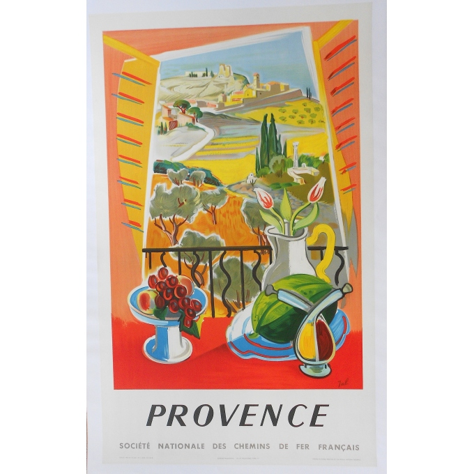 Original poster of Provence - SNCF, signed by Jal and dating of 1954