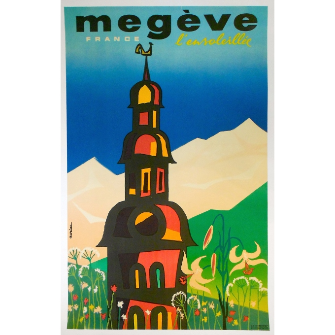 "French original poster ""Sunny Megève"" - Signed by Auriac - Circa 1960"
