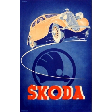 Original Czech poster signed by Kar - Advertising for Skoda - Circa 1930