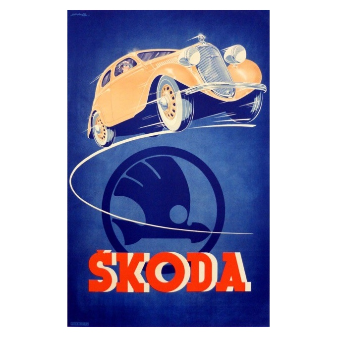 Affiche originale - Publicité pour Skoda signée Kar - Circa 1930