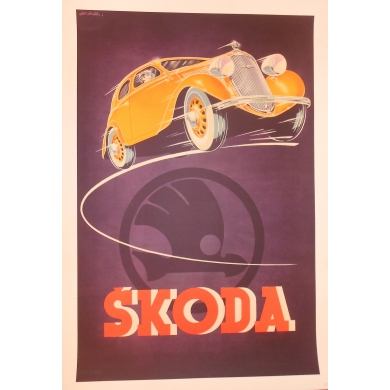Vintage advertising poster for the Purple Skoda by Kar 1930
