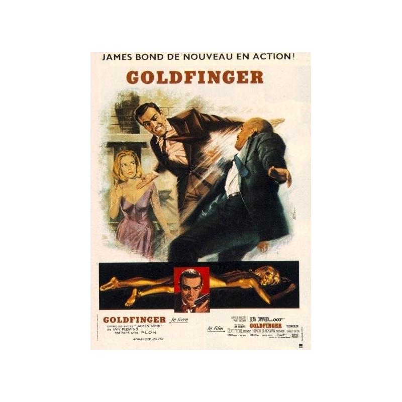 Affiche James Bond 007 Goldfinger (1964) 120 x 160 cm - Rare- Entoilée sur lin
