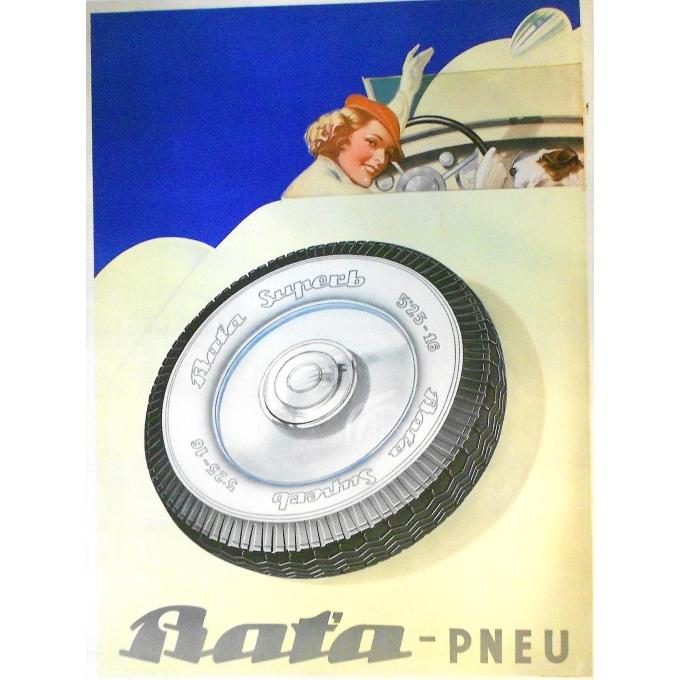 Affiche originale de publicité pour les pneus Bat'a - Circa 1930