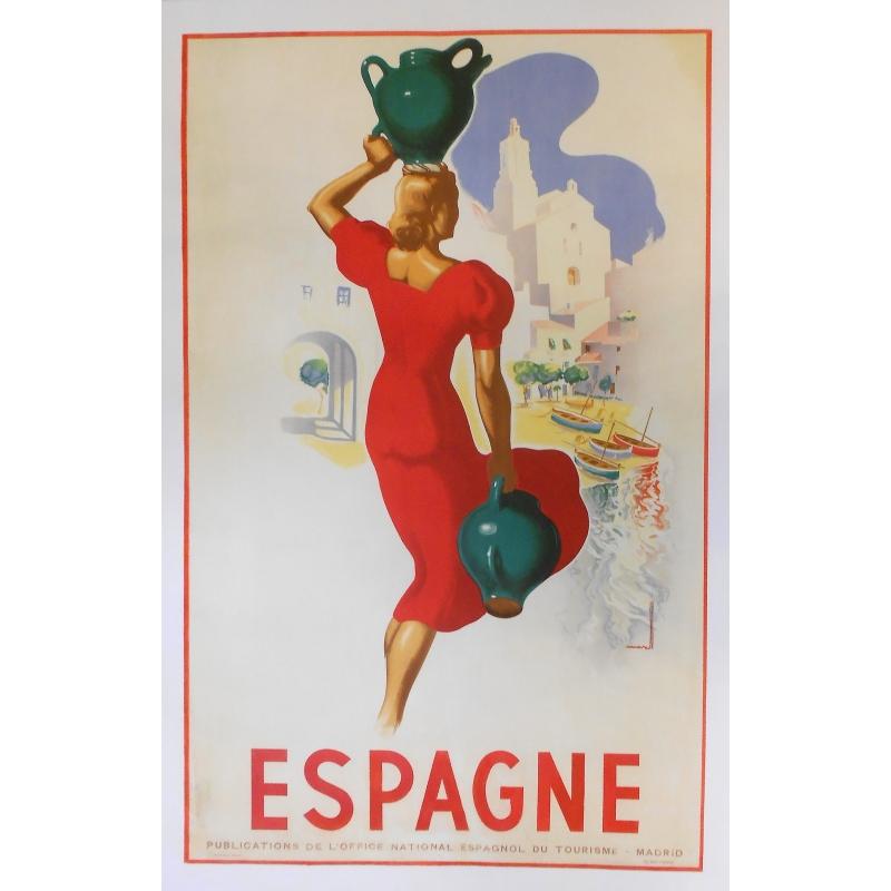 Affiche originale de tourisme - Espagne - Circa 1950
