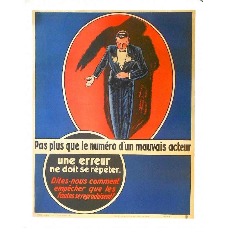 """Affiche originale - Publicité ancienne pour une entreprise - """"Une erreur ne doit se répéter"""""""