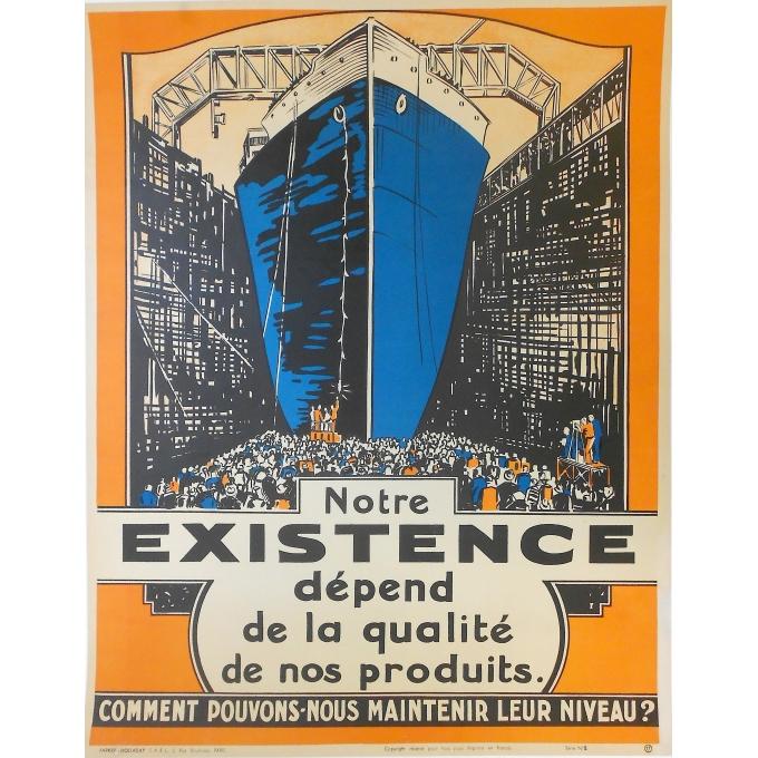 """Affiche originale de publicité pour une entreprise - """"Notre Existence dépend de la qualité des produits"""""""