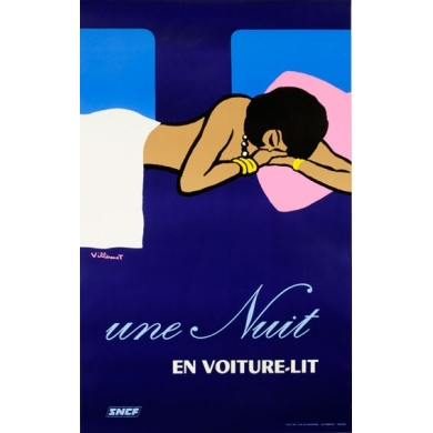 """A Night In A Car-sleeper Train"" - Original poster signed by Villemot - 1973 - French National Railways Company"
