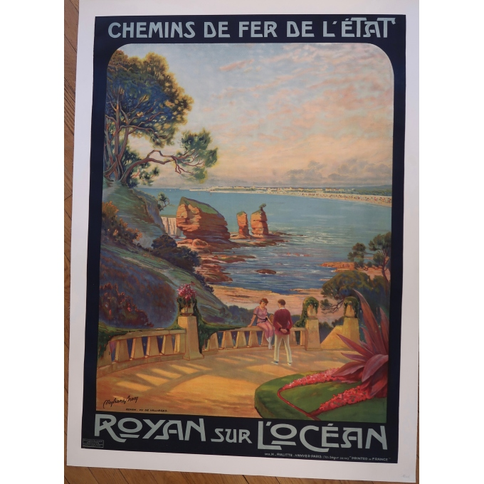 Affiche de voyage ancienne des Chemins de Fer de l'Etat Royan sur L'Océan