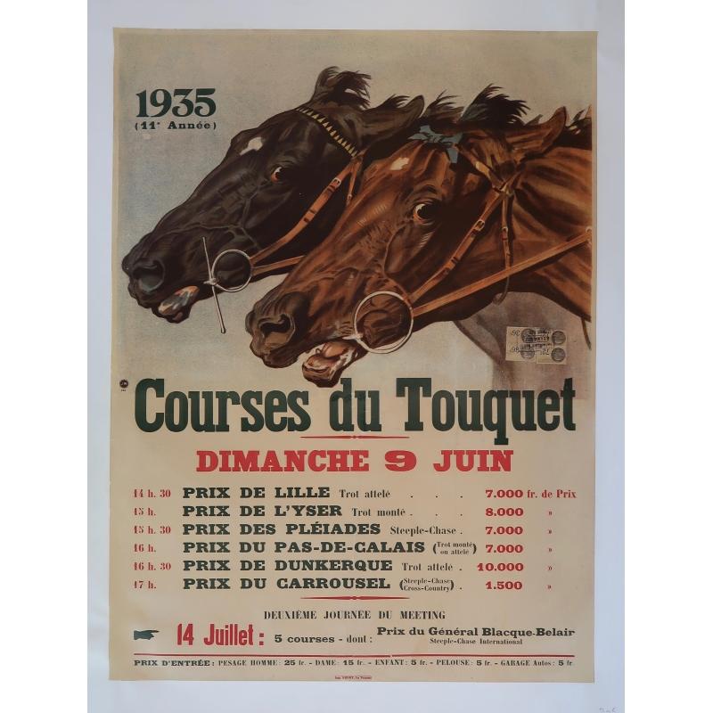 Affiche ancienne Courses du Touquet, originale de 1935, entoilée sur lin.