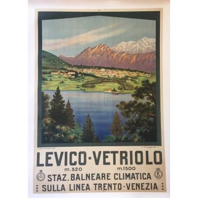 Affiche ancienne de voyage Levico-Vetriolo de Cussino 1930
