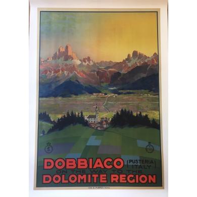 Vintage travel poster Dobbiaco Italy 1930