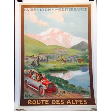 Vintage travel poster Route des Alpes France 1910