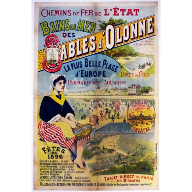 Vintage travel poster Sables d'Olonne France 1896