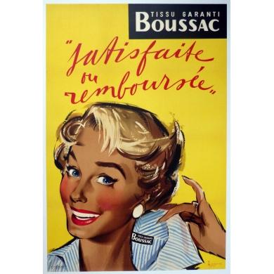 Affiche ancienne originale Tissu Boussac 1950
