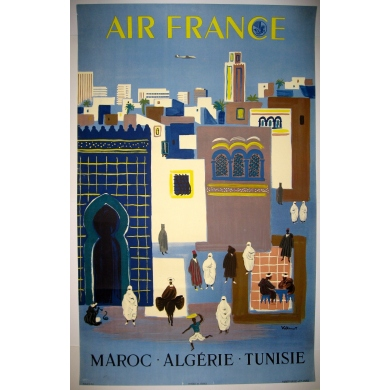AIR FRANCE MAROC ALGERIE TUNISIE Affiche originale