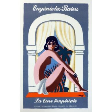 Affiche Eugenie les Bains par Villemot 1980