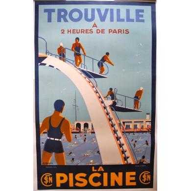 Affiche Trouville La Piscine 1930