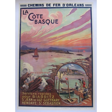 Vintage tourism poster of the Cote Basque by Naurac 1910