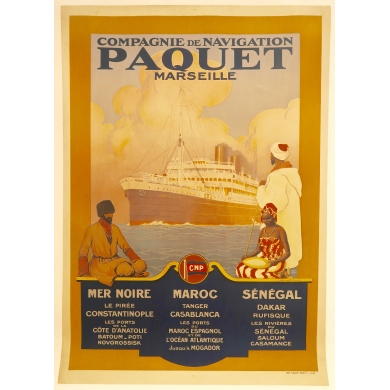 Vintage travel poster Paquet Marseille 1927
