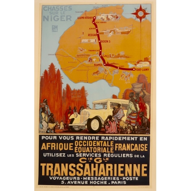 Vintage travel poster Chasses sur le Niger PLM by Jeanne Thil 1930