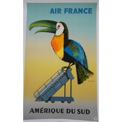 AIR FRANCE AMERIQUE DU SUD affiche originale 1956