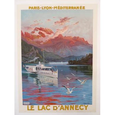 Affiche ancienne PLM Le Lac d'Annecy d'Hugo d'Alesi 1910