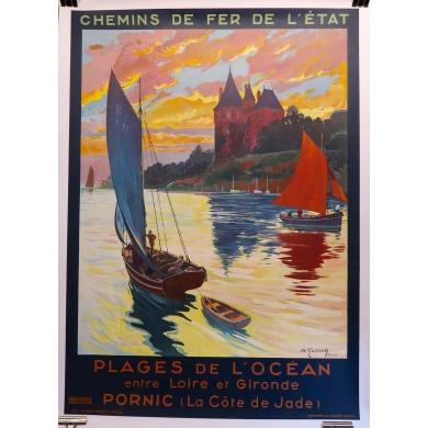 Affiche ancienne d'A.Galland Pornic 1929