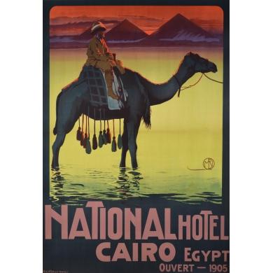 Affiche ancienne publicitaire Hôtel National du Caire (1905)