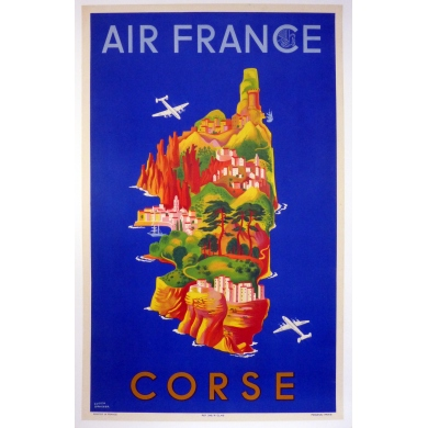 Affiche ancienne originale AIR FRANCE CORSE L.Boucher 1949