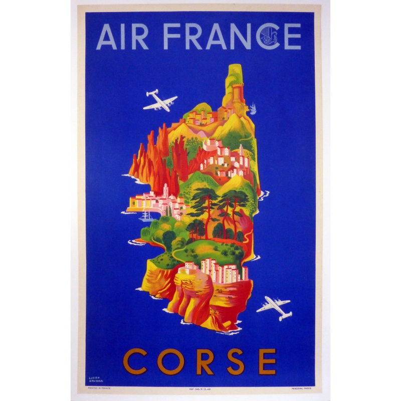 Original Poster AIR FRANCE CORSICA by Lucien Boucher