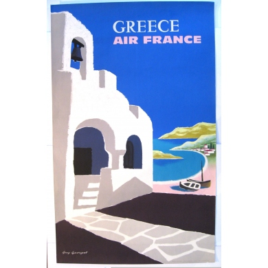 Affiche originale AIR FRANCE GRECE par georget 1959 60 x 80 cm