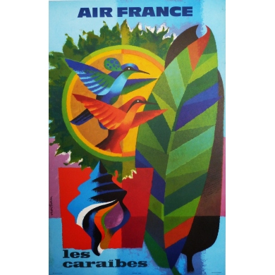 Affiche AIR FRANCE les CaraÏbes 60 x 80 cm illustration de Nathan