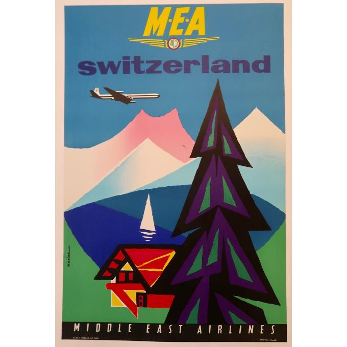 Affiche ancienne de voyage - Auriac - M.E.A Switzerland - Circa 1960