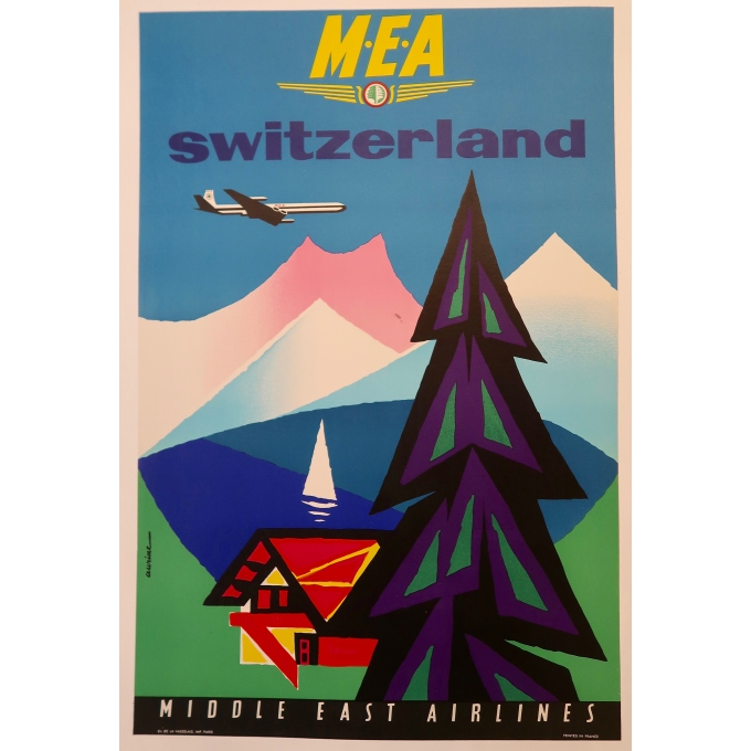 Vintage travel poster - Auriac - M.E.A Switzerland - Circa 1960